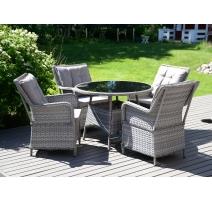 Lexton-puutarharyhmä pyöreä, pöytä ja neljä tuolia